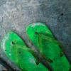 old green flip flops on concrete